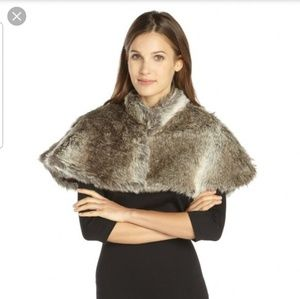 French Connection Betinna Cape FauxFur Cover Shawl